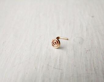 Spiral Nose Stud 14k Rose Gold Fill