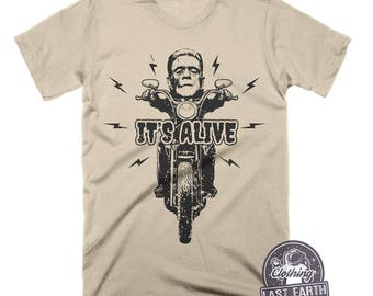 Frankenstein Riding Motorcycle Shirt | Its Alive Shirt | Horror Shirts | Frankenstein Shirt | Halloween Shirt | Movie T Shirts | Mens Shirt