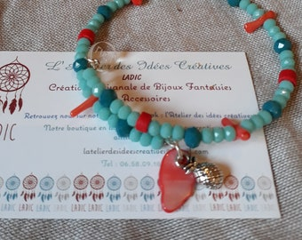 Turquoise and coral Bangle natural bohostyle