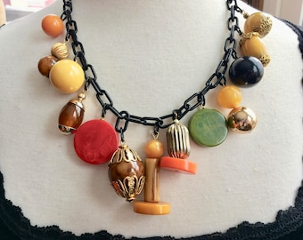 Artisan Multicolored Bakelite Bead Necklace on Faux Celluloid Chain