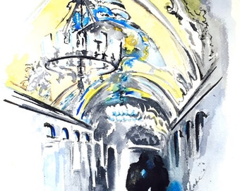 From Russia with Love Original Watercolor - Russia Travel Illustration Painting - Home Decor - Wanderlust - Metro Station in Russia