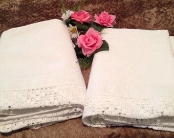 Vintage 100% linen pair pillow shams monogram laced xlrg 29x37