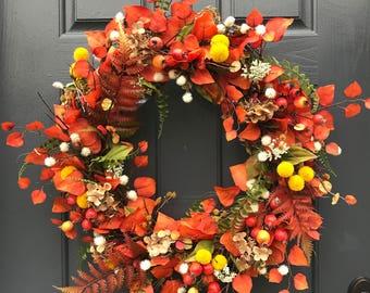 Fall Wreaths, Fall Door Decor, Orange Color Wreath, Thanksgiving Decor, Fall Decor, Fall Decorating, Front Door Wreath, Wreath for Fall