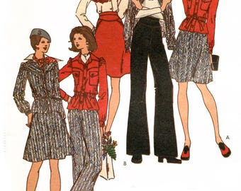 Butterick 3344 Vintage 1970s Kenzo jacket, skirt and pants ensemble uncut sewing pattern