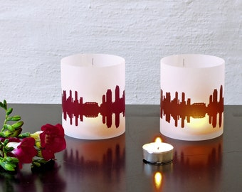 Lantern SAN DIEGO city light, 2 Tablelight, for San Diego Lovers, Honeymoon in San Diego, romantic candlelight, City Shade San Diego