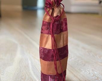 Bottle Cover - Handmade Embroidered Silk