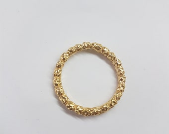 Eternity wedding ring women, 14k gold ring, gold wedding band women, solid gold wedding band, beaded gold ring, stacking solid gold rings