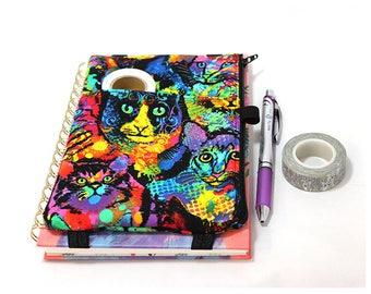 Journal Pouch Planner Pouch Pencil Pouch Planner Band Planner Accessory Bag - Splatter Paint Cat 9303