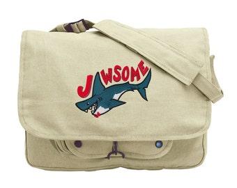 Jawsome Embroidered Canvas Messenger Bag
