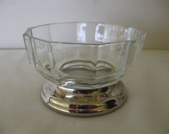 Silver Plate and Glass Candy Dish from Italy,    Bon Bons,  Trinket Dish,  Jewelry Dish