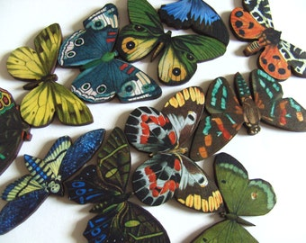 Wood, Butterfly, brooch, wooden butterfly, moth, choose style, Summer, mix colour, blue and green, by NewellsJewels on etsy