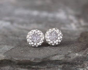Raw Diamond Earrings - Sterling Silver Crown Setting - 1 Carat Stud Earring - April Birthstone - Uncut Gemstone - Conflict Free Diamonds
