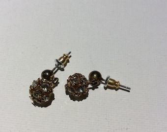 Vintage Rhinestone Globe Earrings