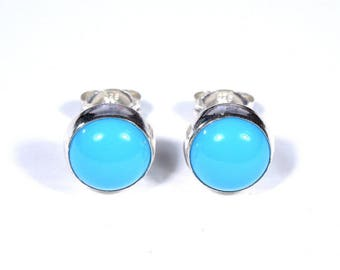 Handmade 5mm Round Sleeping Beauty Turquoise Genuine 925 Sterling Silver Stud Post Earrings- Made in USA