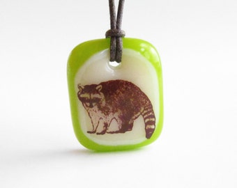 Raccoon Necklace / racoon jewelry / funny necklace / daughter gift / woodland creature / woodland  art jewelry / camping necklace