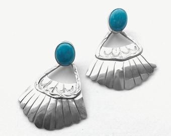 Turquoise Fan  •• Vtg Navajo Running Bear Sterling Hand Stamped Dangle Earrings
