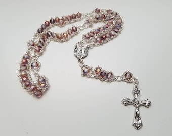 Pink and Purple Luster Ladder Rosary