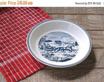 ON SALE Currier and Ives The Long Winter Pie Plate Ca. 1970s