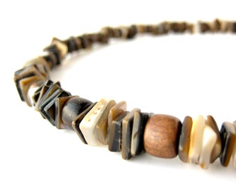 Mens Jewelry - Brown shell and mabolo wood necklace for men. Chocolate Surf