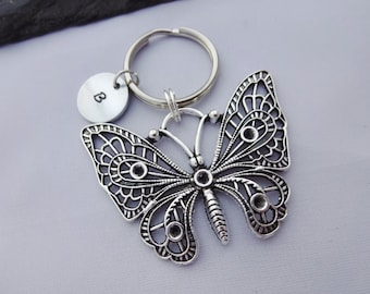 Butterfly Keychain, Butterfly keyring, Initial Butterfly Keyring, Hand Stamped Keyring, Butterfly Charm, Personalised Gift, Butterfly Gift
