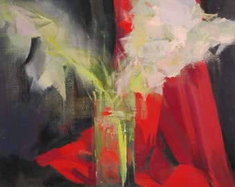 Abstract flower painting, Oil floral painting, Aurora red wall art canvas original white flowers in vase
