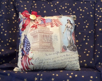 pillow, patriotic, red, white, blue, Sam, Lady Liberty, Statue of Liberty, Flag
