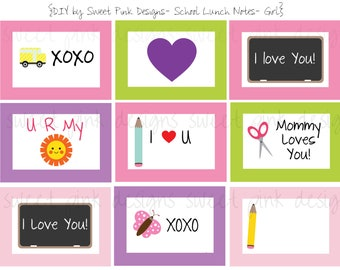 Preschool Lunch Box Notes- Girl
