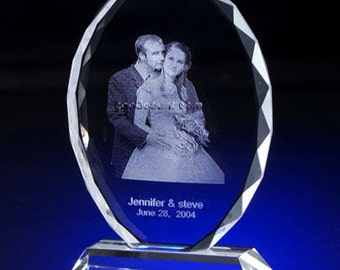 Photo Crystal Oval,  Custom Laser Engraved Picture in Glass A00502 -Free Shipping