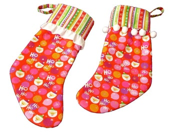 Whimsical Christmas Stockings, Retro Christmas Stockings, His and Hers Christmas Stockings