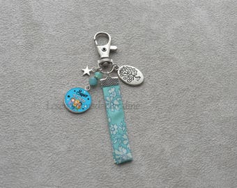 Special gift for pre-school, fabric Liberty, Crystal beads keychain