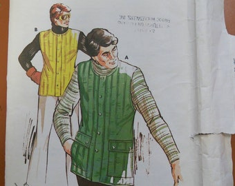 Kwik Sew 754 Men's Quilted Lined Puff Vest UNUSED Vintage Fashion Sewing Pattern 1970s 70s Size Sm Med LG XL