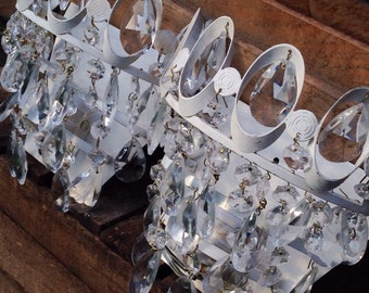 French Crystal Sconces - Vintage Pair Of French Salvaged Reclaimed Crystal Empire Style Wall Sconces - Wall Lights