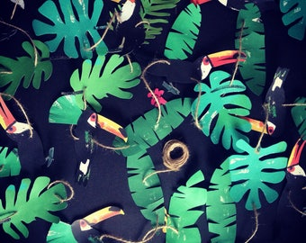Extra large tropical wedding paper garland, backdrop, party decor, room decor