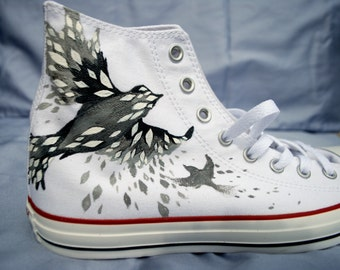 Hand Painted Converse Shoes - Bird - Hi Tops