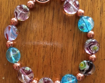 Multi colored glass bead and copper bead bracelet