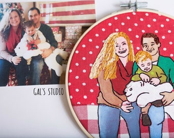 Family portrait painting and embroidery. portrait from photo. personalize gift. costume order.