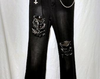 Size 6 Stretch Denim Slashed Distressed Jeans Visual Kei Clothing Goth Fashion Goth Clothing Gothic Clothing Dark Fashion Upcycled Clothing