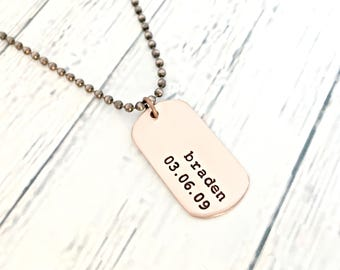 Personalized Mini Copper Dog Tag - Mens Dog Tag Necklace - Custom Hand Stamped Daddy Necklace - Name, Birthdate - Husband, Dad, Grandpa Gift