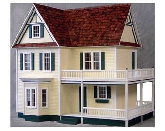Scale One Inch, Dorothy, Victoria's Farmhouse Wooden Dollhouse Kit with Optional Turntable, Made In USA, Scale One Inch