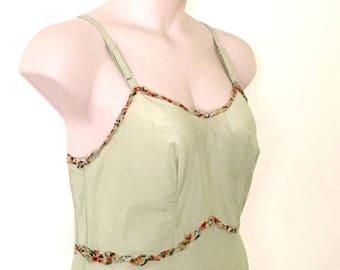 Faery Baby Doll Jade Green BoHo Mori Festival Dress ~ Raw Tattered Apricot Floral Indian Cotton Trim ~  Size Medium AU 12 US 10