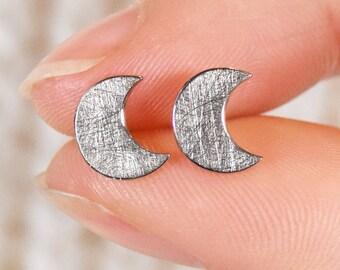 Moon Earrings, Ethical 18k Gold, Moon Studs, Moon Posts