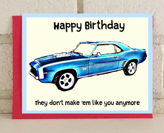Birthday Classic Car Greeting Card Celebration Blue Vintage