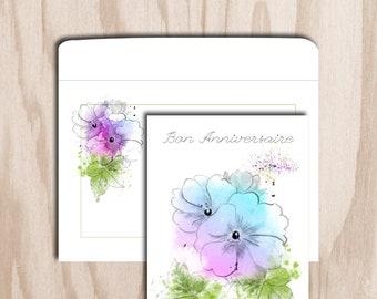 Birthday card and envelope is a digital print - flower Primrose digital watercolor