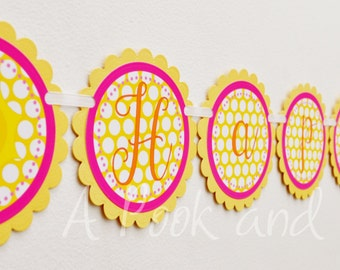 You are my Sunshine Personalized Happy Birthday Banner in Pink, Orange, and Yellow Baby Shower Decoration