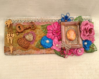"Romantic Mixed Media Assemblage Wall Plaque ""Reminisce"" by Deboriah"