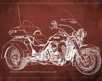 2015 Harley-Davidson FLHTCUTG Tri Glide Ultra Classic Blueprint,Art Print larger sizes, Motorcycle Art print,Original Drawing for men cave