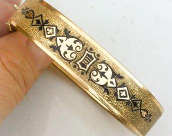 Victorian bracelet. Antique jewelry. Etruscan bangle bracelet cuff. hinged. deco nouveau antique jewelry gf gold etched LA eb