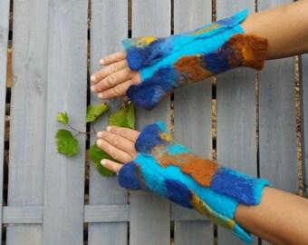 Felted Mittens hand warmers  woolen mittens Felted cuffs felt gloves firgerless wool blue felted art