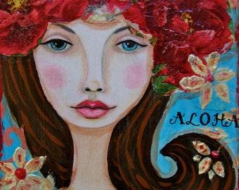 Whimsical Folk Art Mixed Media Girl