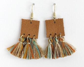 cognac leather & multi tassel earrings